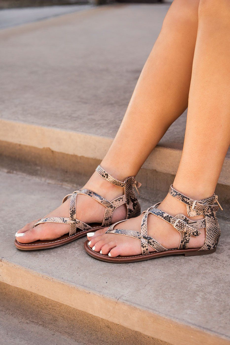 Lori Snakeskin Strappy Sandals by Priceless