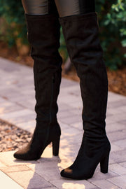 Lose Control Thigh High Boots - Black
