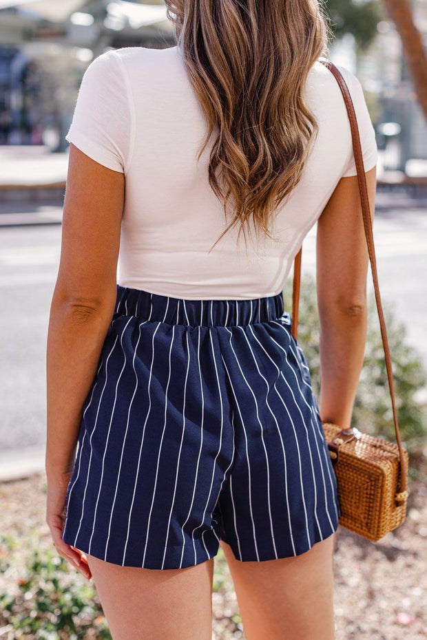 Navy Striped Shorts