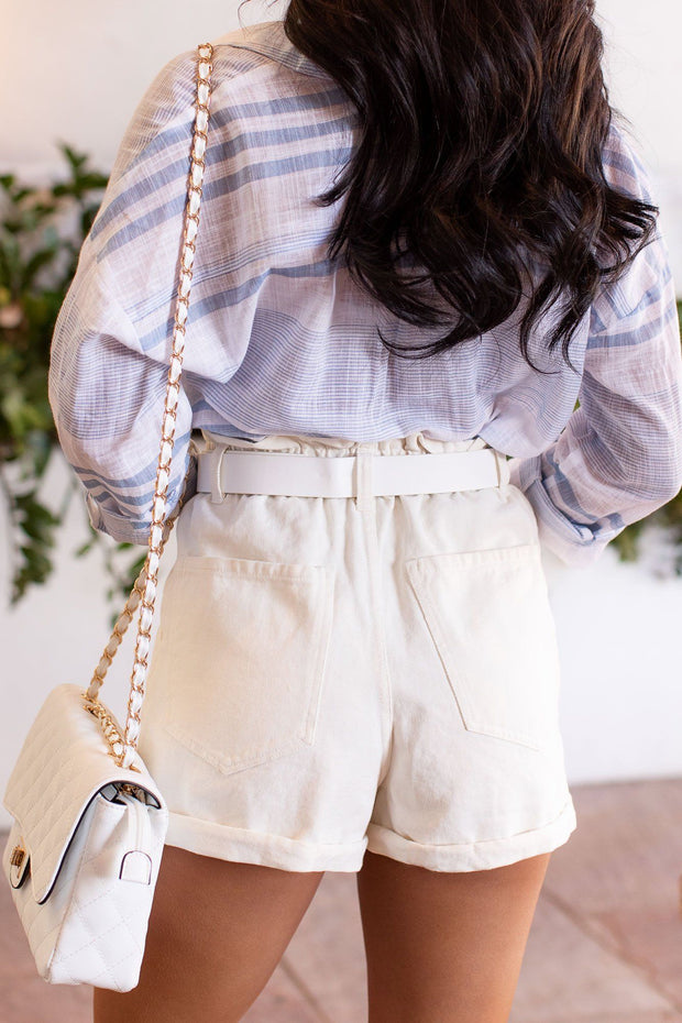 White Paperbag Shorts