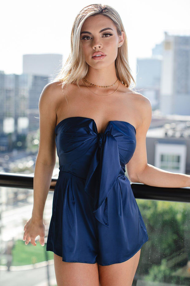 Love At Last Navy Satin Sleeveless Romper