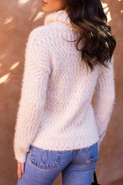 Love Me Madly Ivory Fuzzy Knit Turtleneck Sweater