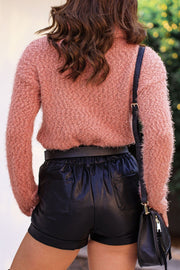Mauve Fuzzy Knit Turtleneck Sweater