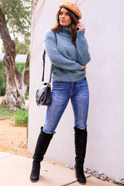 Teal Fuzzy Knit Turtleneck Sweater