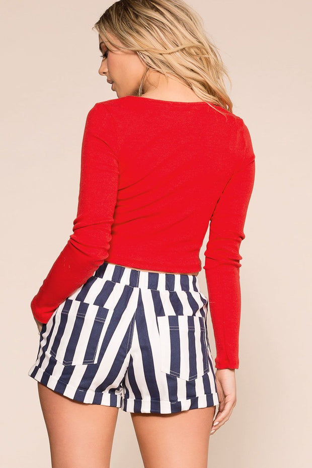 Priceless | Navy and White | Striped Shorts | Womens
