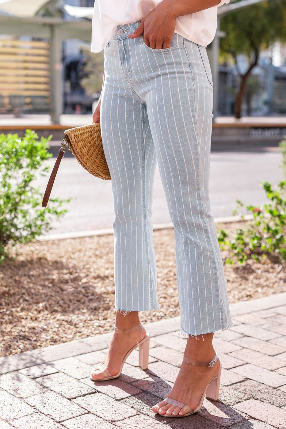 Striped Boot Cut Jeans