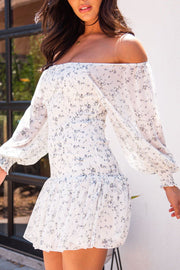 Lucky One Ivory Floral Off The Shoulder Mini Dress