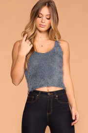 Luxe Slate Fuzzy Tank Top | Active Basic