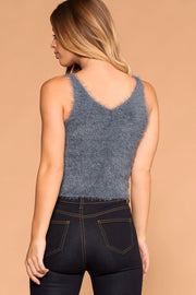 Slate | Blue | Fuzzy Tank Top | Womens | Priceless