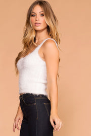 White | Fuzzy Tank Top | Womens | Priceless