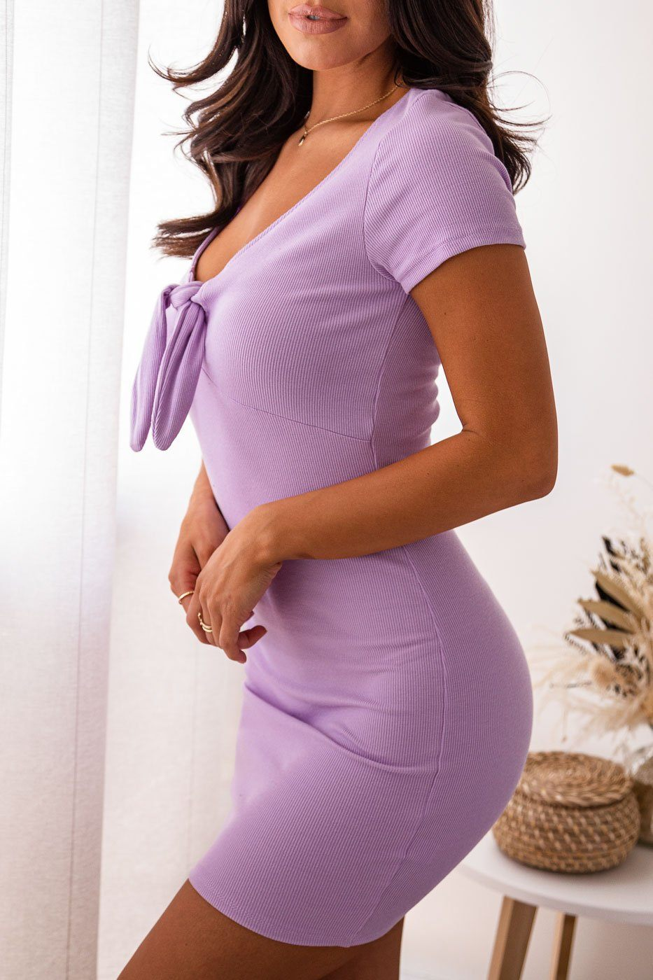 Lavender Tie-Front Mini Dress