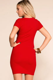 Priceless | Red |Tie-Front | Mini Dress | Stretchy | Womens