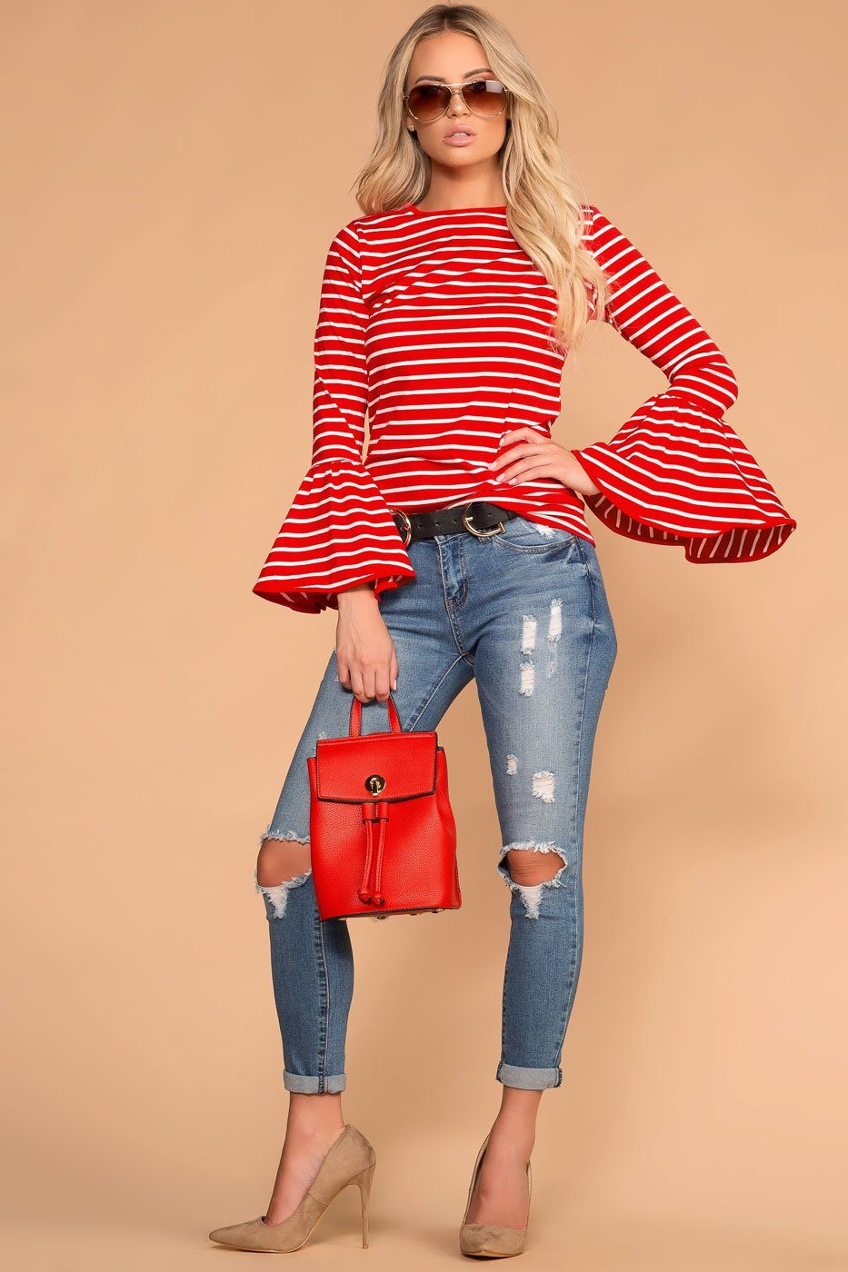Priceless | Red | Stripe Top | Peplum Sleeves | Womens