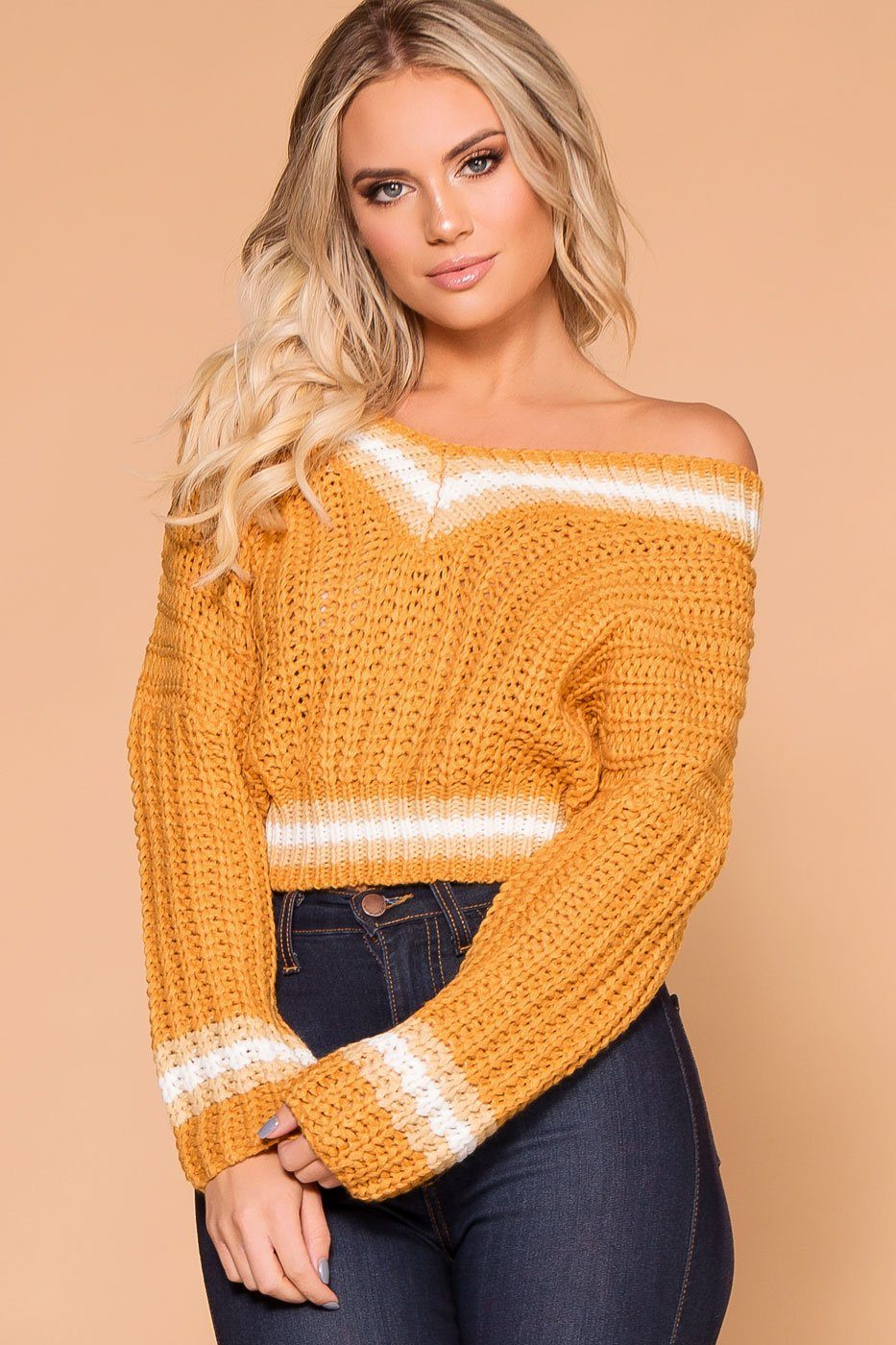 5bdf626cb12ce5 Lynden Mustard Knit Crop Sweater