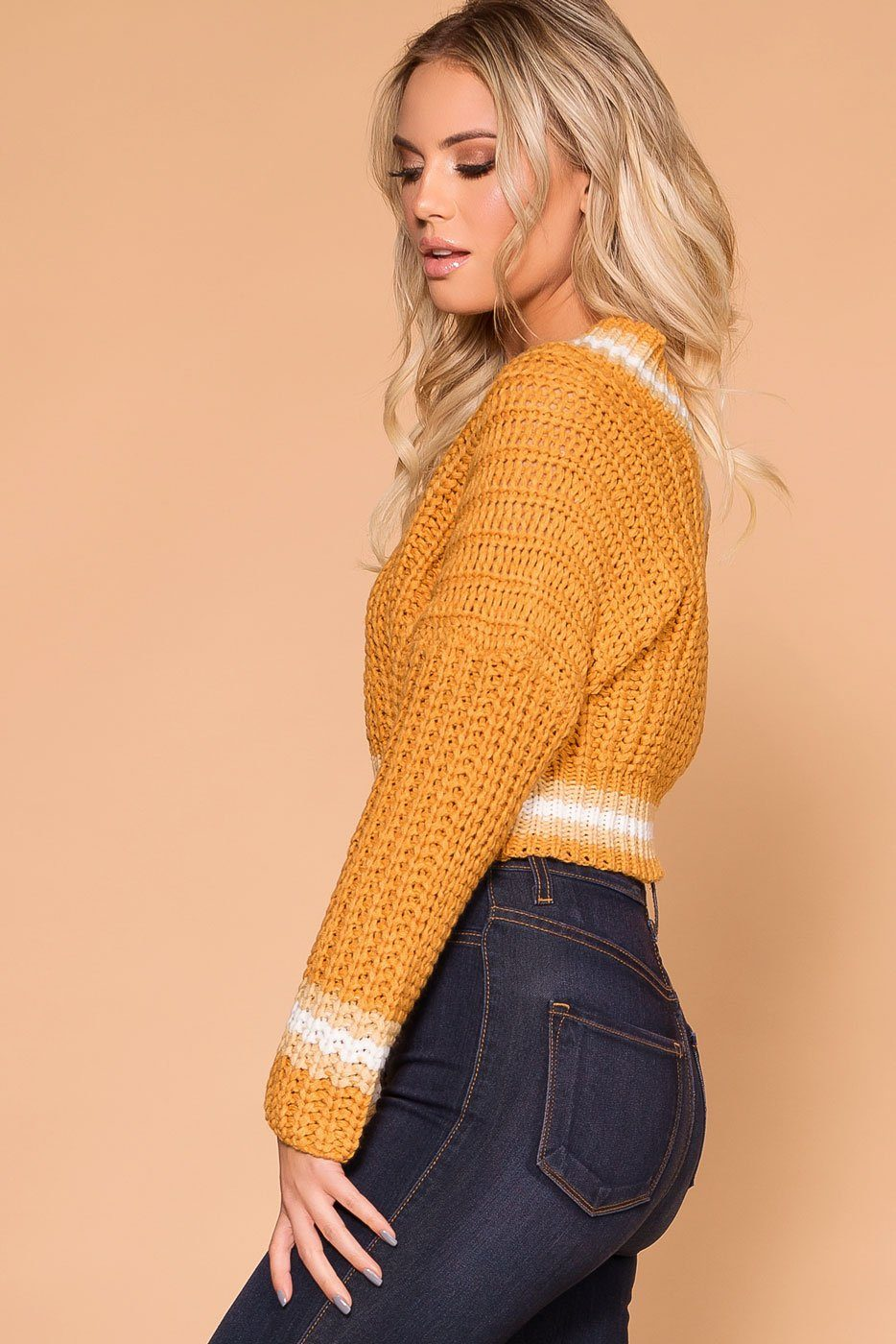 Priceless | Mustard Knit Sweater | Crop Sweater | Sweater Top | Womens