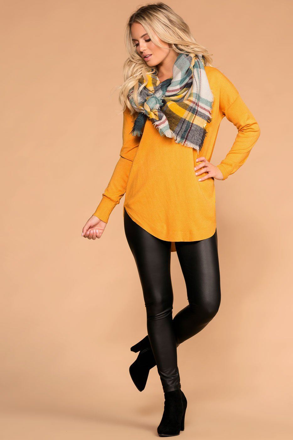 Women's Mustard Sweater Top