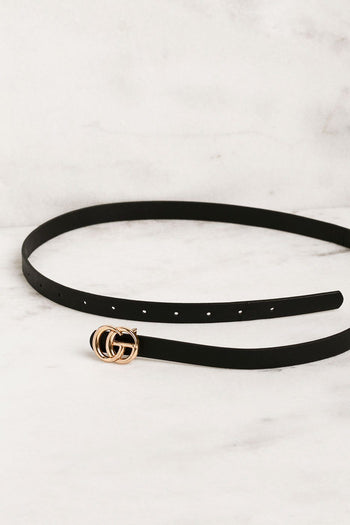 Thin Black Belt with GG Gold Buckle