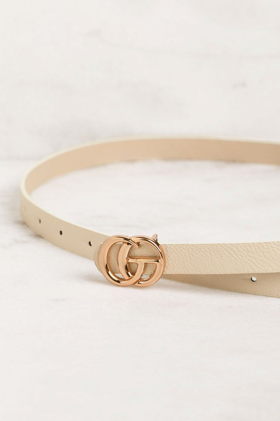 Thin Taupe Belt with GG Gold Buckle