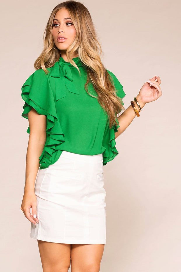 Make A Statement Green Ruffle Blouse | Shop Priceless