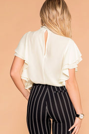 Make A Statement Ivory Ruffle Blouse | Shop Priceless