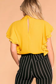 Priceless | Mustard | Ruffle Blouse | Womens