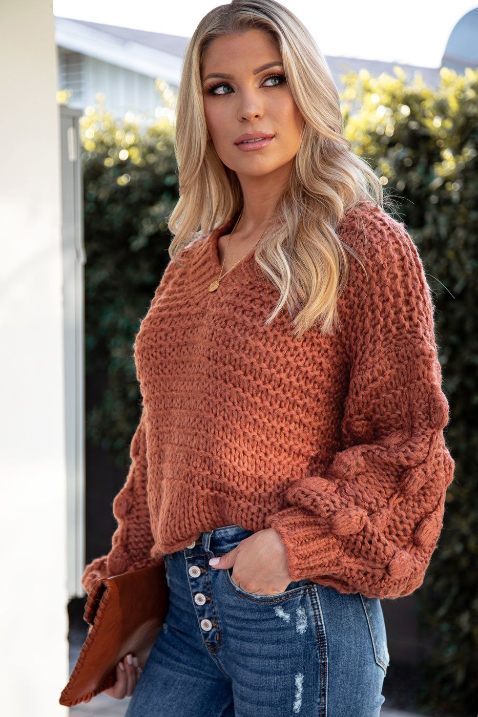 Make It Last Brick Bubble Knit Sweater