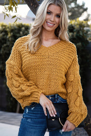 Mustard Bubble Knit Sweater