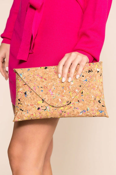 Cork Envelope Clutch with Confetti Color