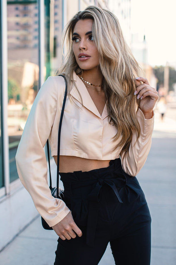 Make Way Cream Satin Blazer Crop Top