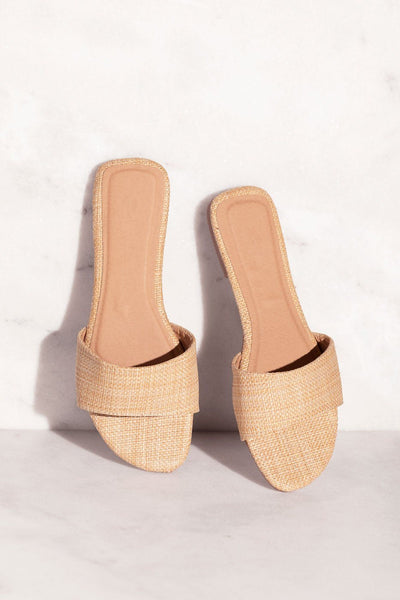 Raffia Slide-On Sandals