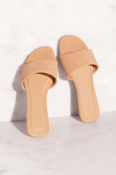 Taupe Vegan Suede Slide-On Sandals
