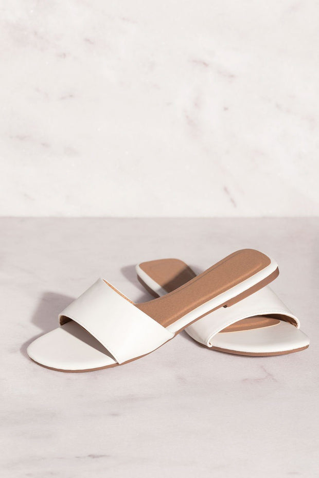White Slide-On Sandals