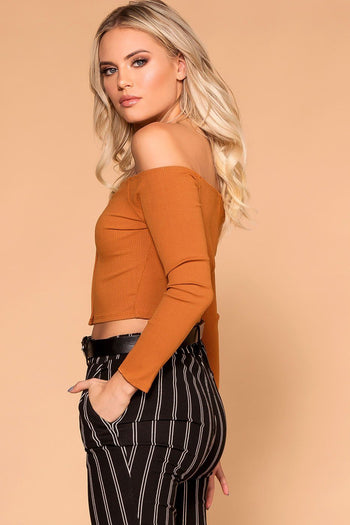 Manda Cognac Button Off The Shoulder Crop Top | Shop Priceless