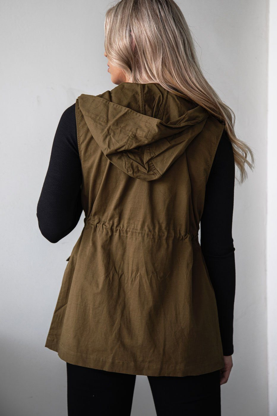 Maple Leaves Olive Hoodie Vest