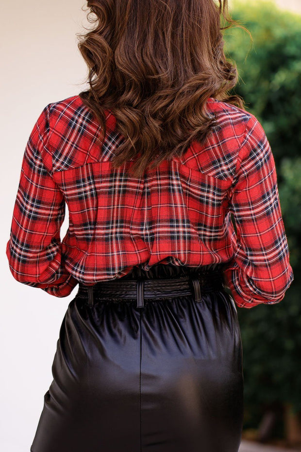Red Plaid Button Down Top