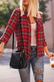 Marceline Red Plaid Button Down Top