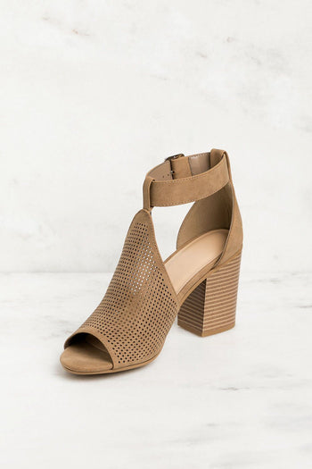 Taupe Peep Toe Heels with Cutout Details