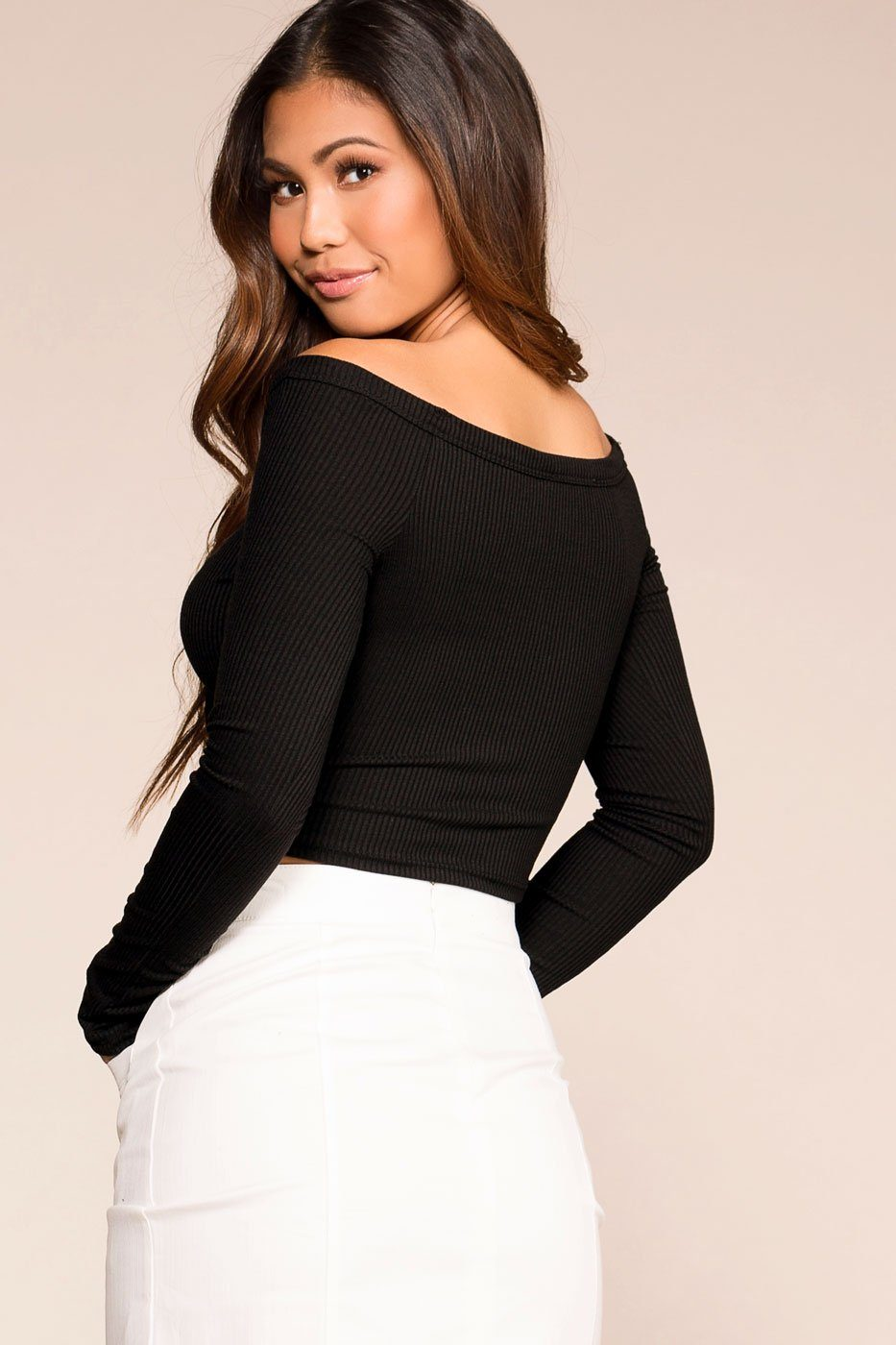 Priceless | Black Button | Off the Shoulder Crop Top | Womens