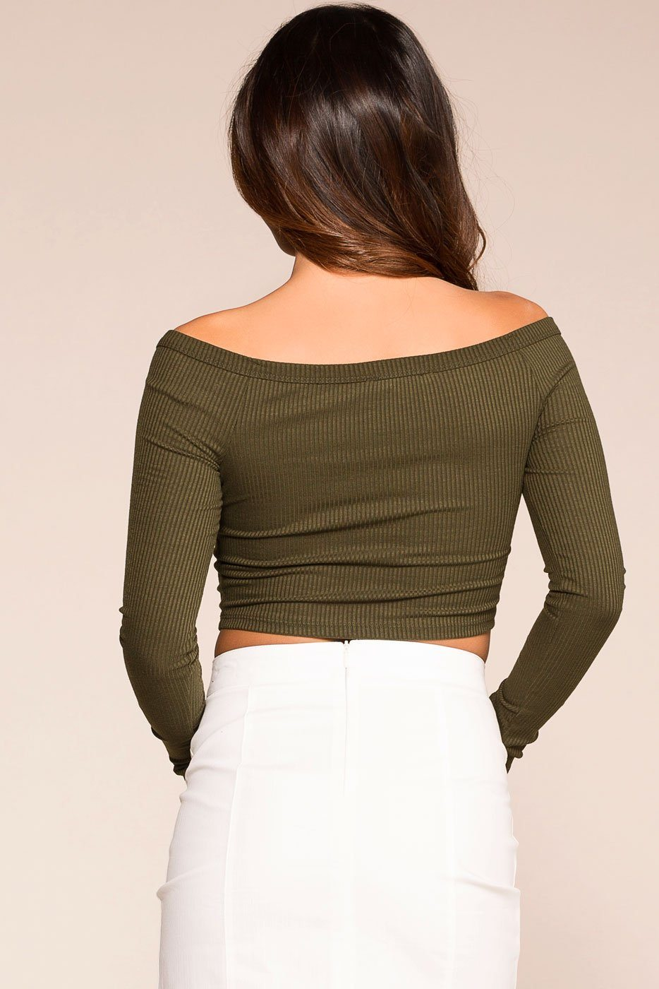 Priceless | Olive | Button | Off The Shoulder | Crop Top | Womens