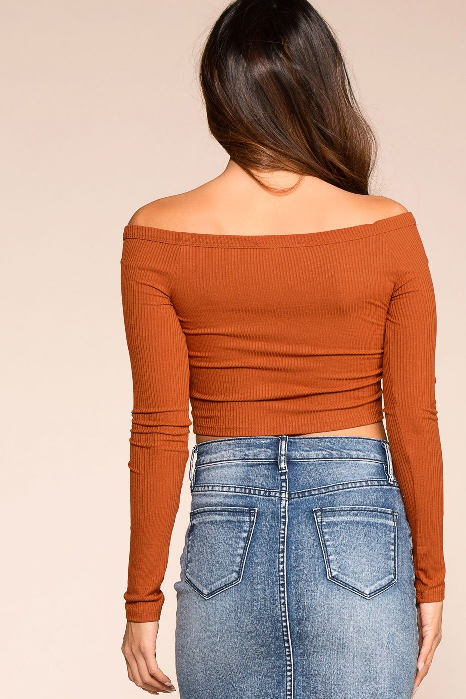 Priceless | Rust | Button | Off the Shoulder Crop Top | Womens