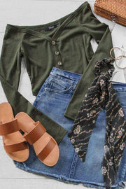 Margaret Olive Off The Shoulder Button Crop Top