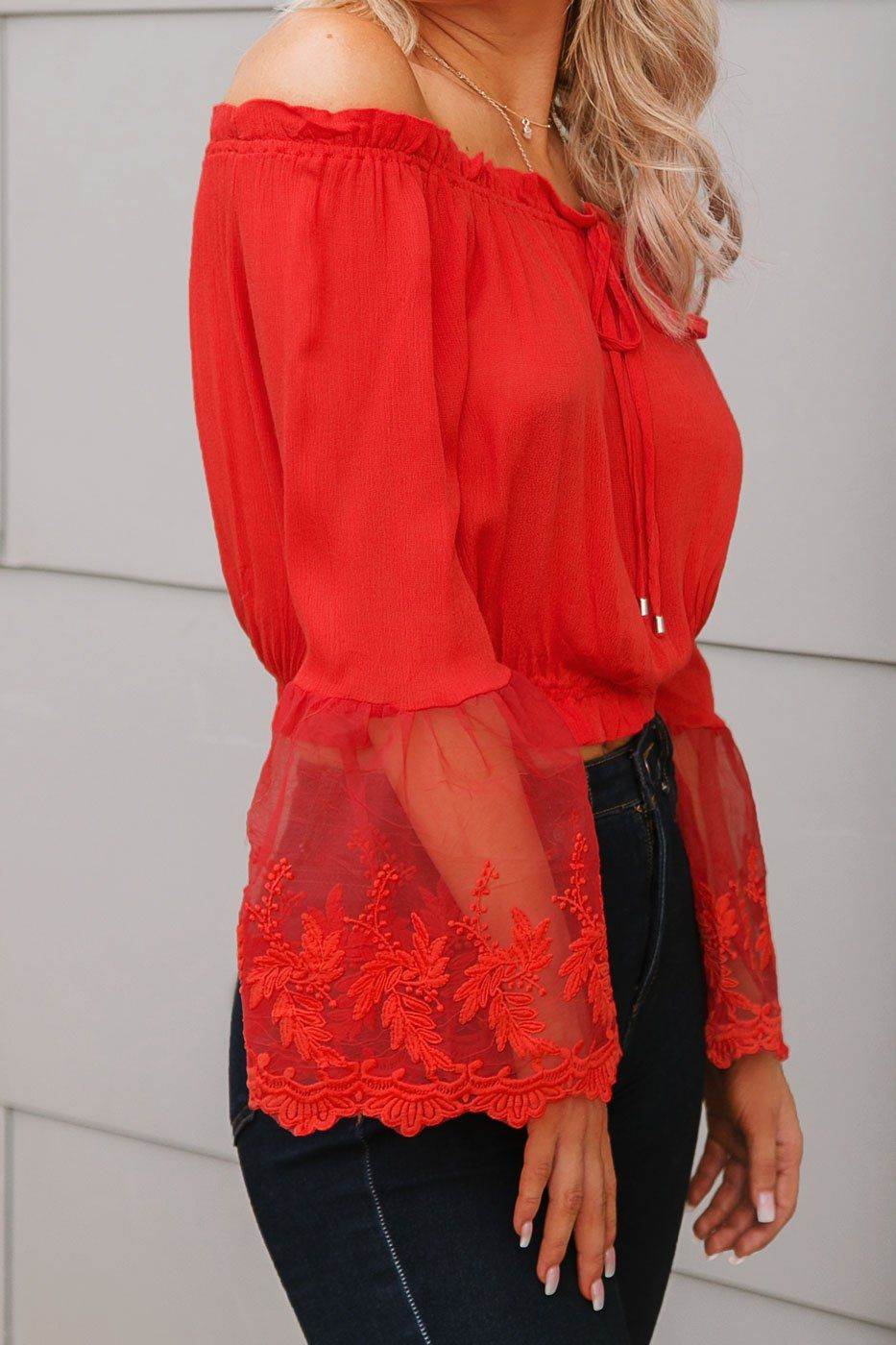 Red Lace Bell Sleeve Crop Top