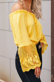 Yellow Lace Bell Sleeve Crop Top
