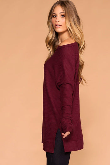 Shop Priceless | Burgundy | Sweater Top | Waffle Knit | Womens