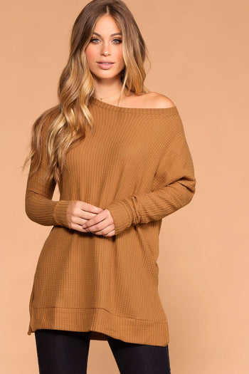 Priceless |Tan | Sweater Top | Waffle Knit | Round Neck | Womens
