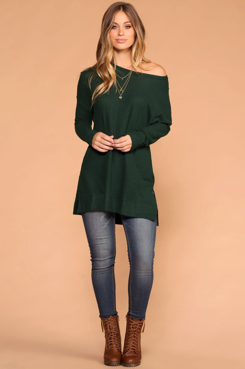 Priceless | Hunter Green | Sweater Top | Waffle Knit | Womens