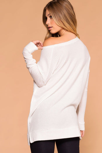 Priceless | Ivory | Sweater Top | Waffle Knit | Round Neck | Womens
