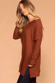 Priceless | Rust | Sweater Top | Waffle Knit | Round Neck | Womens
