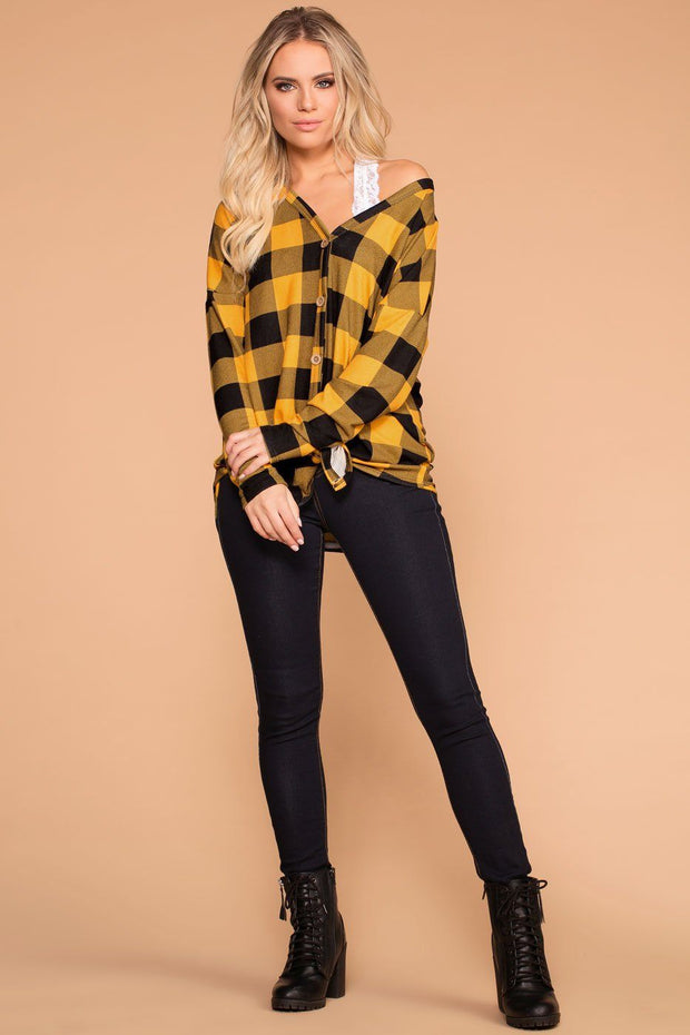 Priceless | Mustard | Plaid Tie-Front Top | Womens