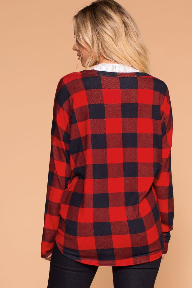 Priceless | Red | Plaid Tie-Front Top | Womens